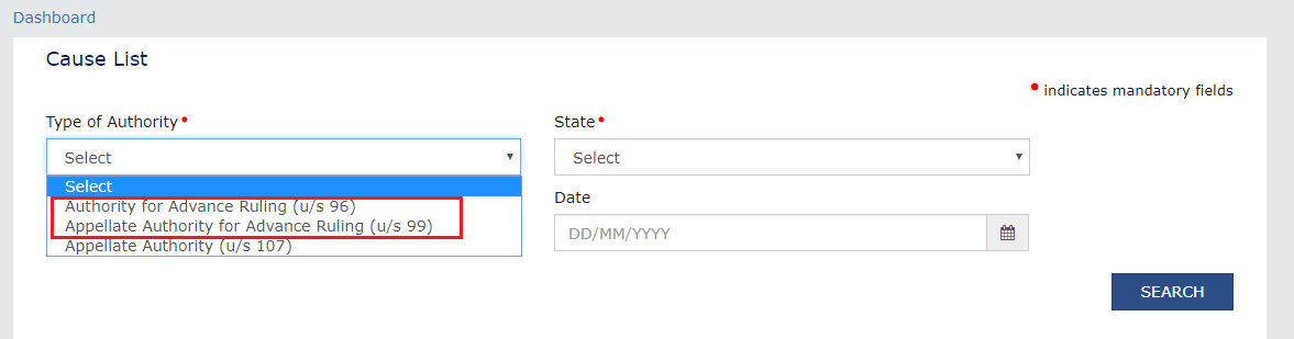 Type of Authority drop-down list