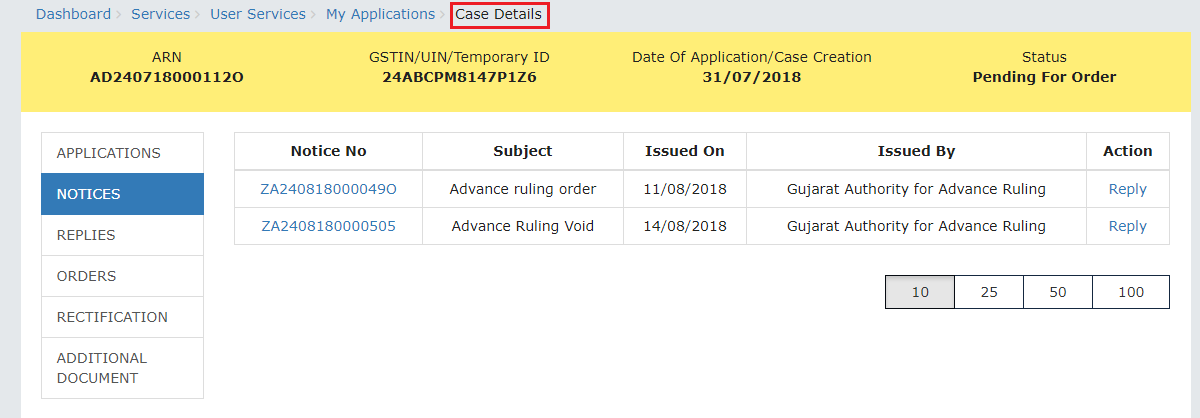 View Issued Notices - Case Details