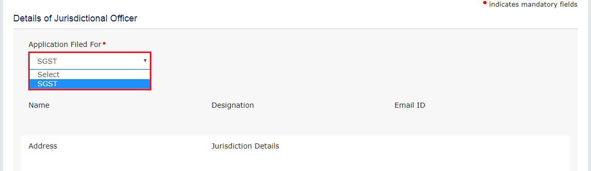Details of Jurisdictional Officer page