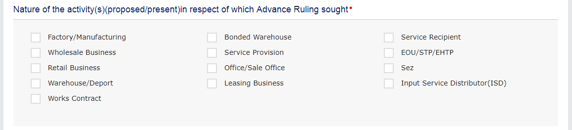 Select the applicable checkbox
