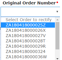 Select the order number of the order