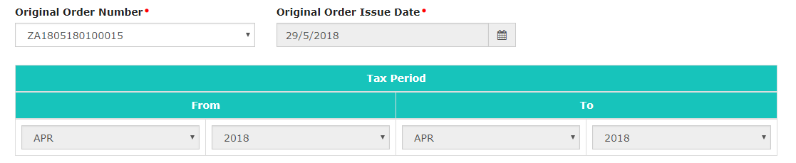Select Original Order Issue Date