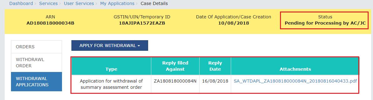 Click Withdrawal Application