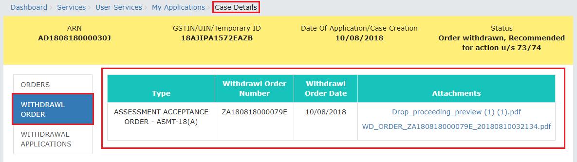 Select Withdrawl Order