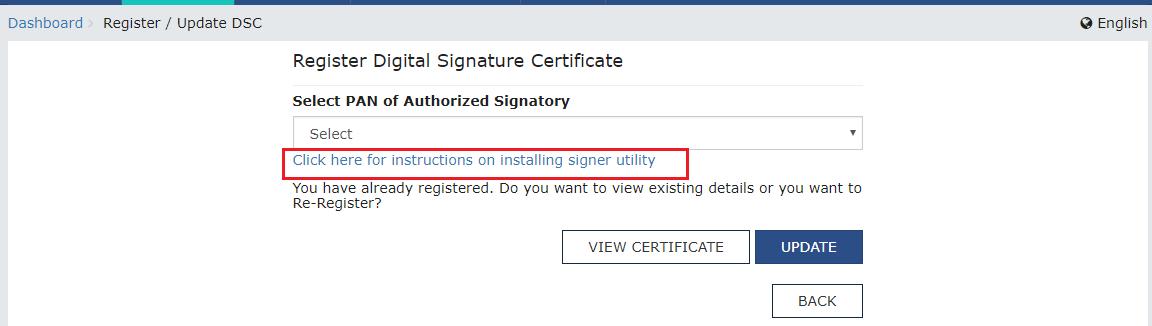Register Digital Signature Certificate page
