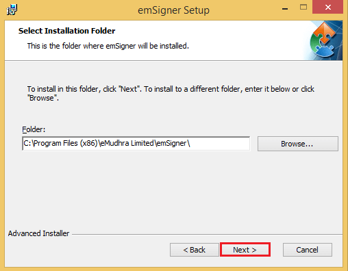 To install the emSigner and click the Next