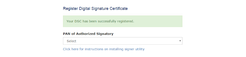 DSC has been successfully registered