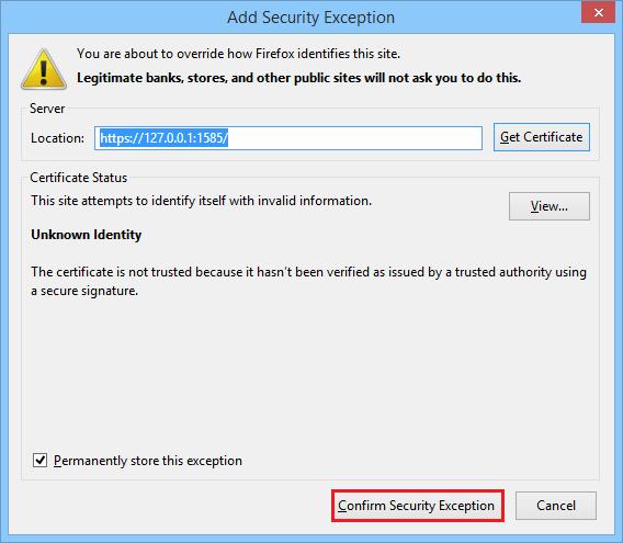 Confirm Security Exception