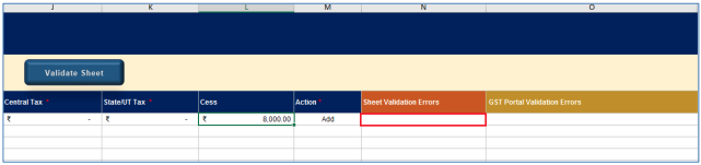 Sheet validation error(s) column