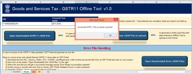 The message Downloaded GSTR-11 file successfully imported