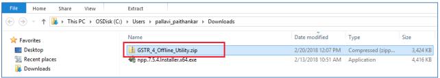 Downloaded folder