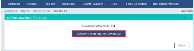 Click Generate JSON to Download