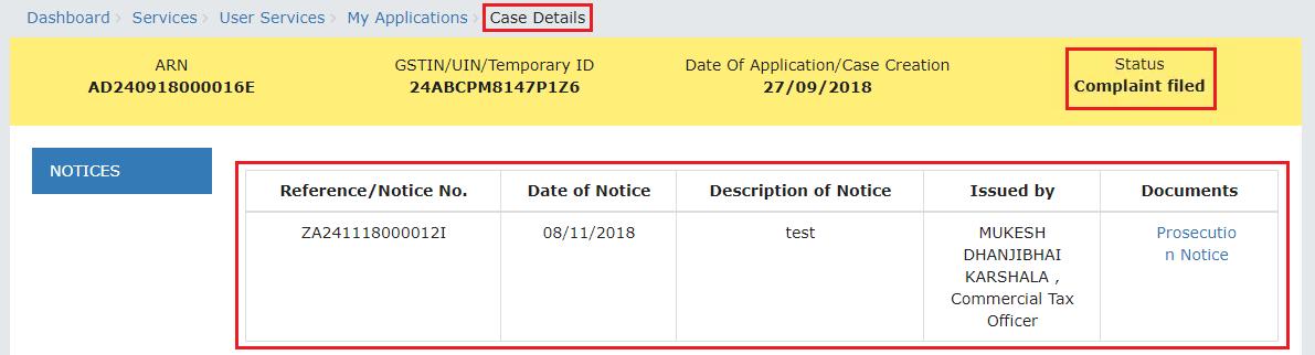 Case Details page