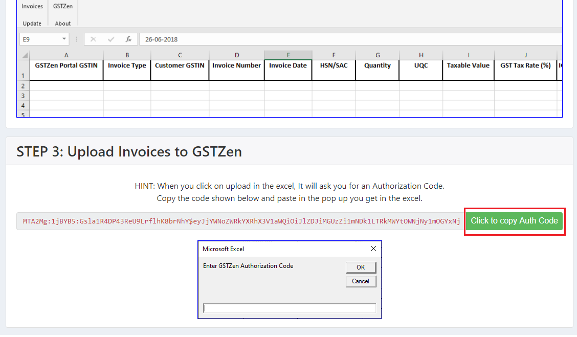 Copy E-Invoice Authorization Code