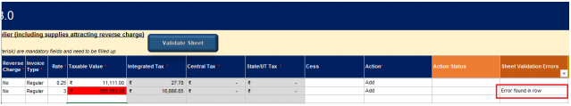 Sheet Validation errors