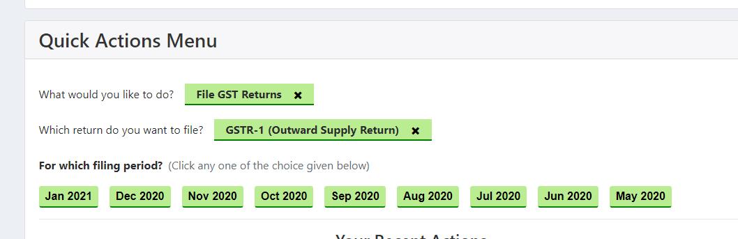 GSTR 1 select period